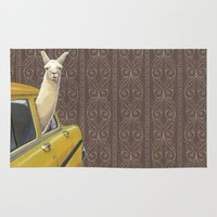 write Area & Throw Rugs featuring Taxi Llama by Jason Ratliff