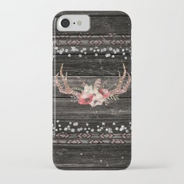 Glam Boho Chic Floral Antlers & Rustic Wood iPhone Case