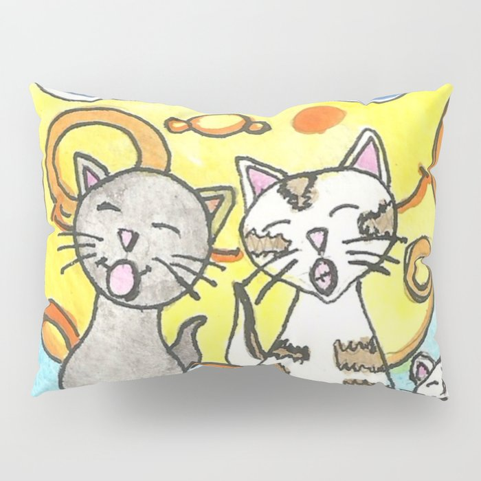 Singing Cats on the Fence Pillow Sham