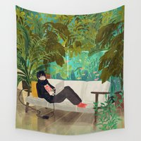 jungle Wall Tapestries featuring jungle by Lara Paulussen