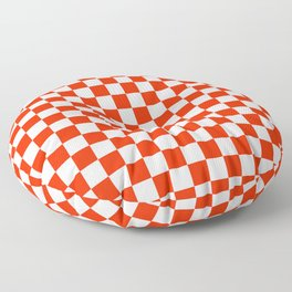 White and Scarlet Red Checkerboard Floor Pillow
