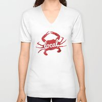 maryland V-neck T-shirts featuring Maryland Red Crab Local by O'Postrophy