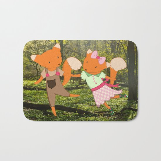 Two Foxes walking through the Forest Bath Mat