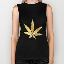 Gold Cannabis Leaf Biker Tank