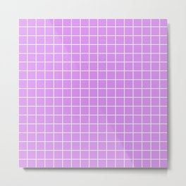 Bright lilac - violet color - White Lines Grid Pattern Metal Print