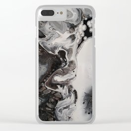 Silver, Black and White Fluid Abstract - Painting Clear iPhone Case