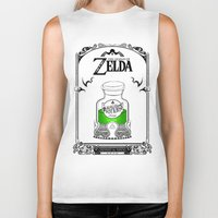 legend of zelda Biker Tanks featuring Zelda legend - Green potion  by Art & Be