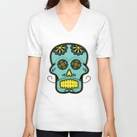 calavera V-neck T-shirts featuring Calavera  by Cody Wilkes-Booth