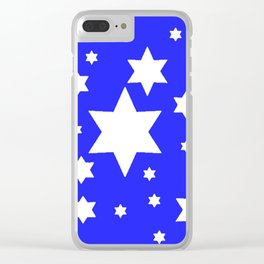 WHITE STARS ON BLUE DESIGN ART Clear iPhone Case