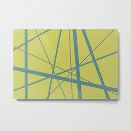 Turquoise Mikado Lines yellow background Metal Print