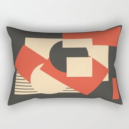 Geometrical abstract art deco mash-up scarlet beige Rectangular Pillow