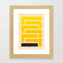Black & Yellow Geometric Pattern Framed Art Print