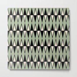 Mid Century Modern Diamond Pattern Sage Green 234 Metal Print