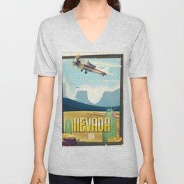 Nevada USA Desert poster. Unisex V-Neck
