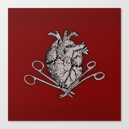 Suture Heart (red version) Canvas Print