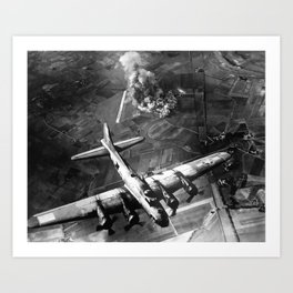 B-17 Bomber Over Germany Painting Art Print