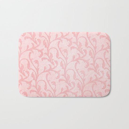 Pretty princess- Pink elegant Damask pattern Bath Mat