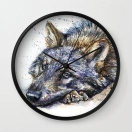 Wolf watercolor Wall Clock