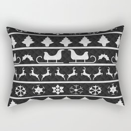 Black & White Ugly Sweater Nordic Knit Rectangular Pillow