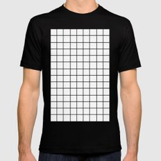Grid (Black/White) Black Mens Fitted Tee MEDIUM