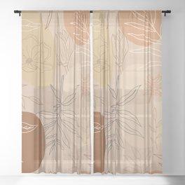 Orange Abstract Desert Pattern Sheer Curtain