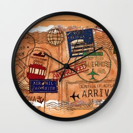 Entry Approved - Passport Stamps Wall Clock