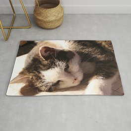 Sleeping Cat Illustration Rug