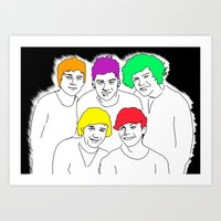1d Art Prints featuring 1D punked by Rebecca Bear