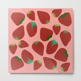 Strawberry Design - Fruit, Pink and Red, Strawberries Pattern Metal Print
