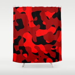 Black and Red Camo abstract Shower Curtain