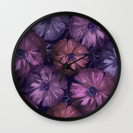 Pink and violet poppies Wall Clock