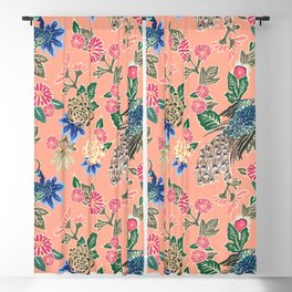 Peacock Floral in Coral Blackout Curtain