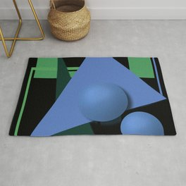abstract painting, abstraction, green and black, geometric, 3d Rug