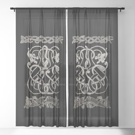 Old norse design - Two Jellinge-style entwined beasts originally carved on a rune stone in Gotland. Sheer Curtain