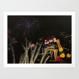 Fogo de artificio fim de ano na Madeira! Art Print