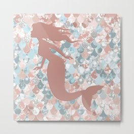Elegant Mermaid Blush, Pink, Coral, Aqua, Teal Metal Print