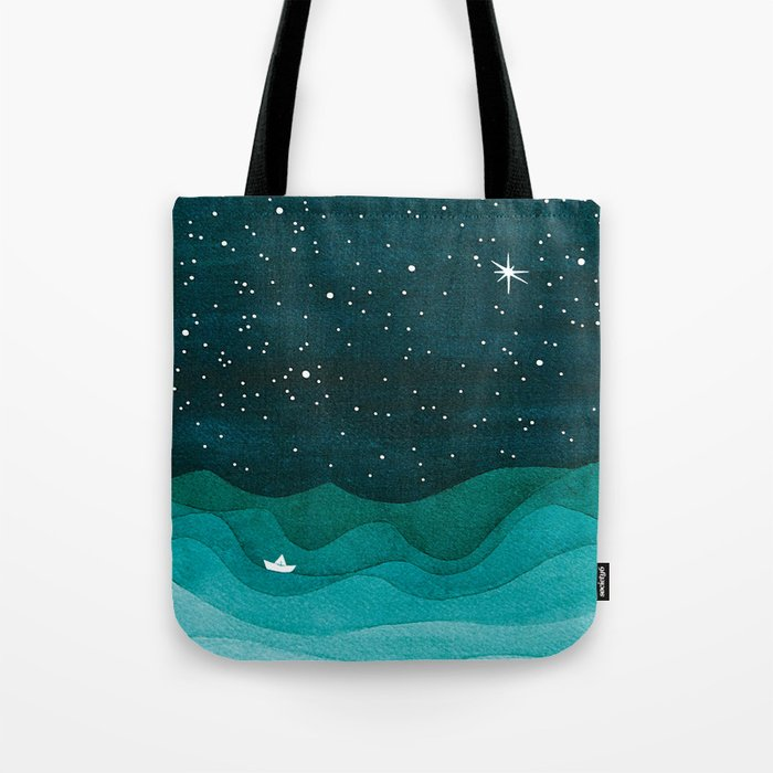 Starry Ocean, teal sailboat watercolor sea waves night Tote Bag