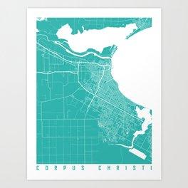 Corpus Christi map turquoise Art Print