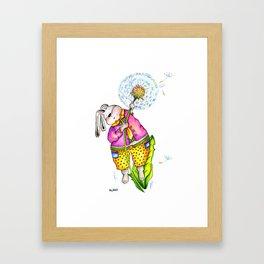 Funny rabbit with dandelion. Flying rabbit Framed Art Print