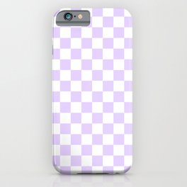 Large Chalky Pale Lilac Pastel Color and White Checkerboard iPhone Case