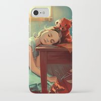 kindle iPhone & iPod Cases featuring When she was six by Cyril ROLANDO