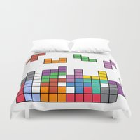 tetris Duvet Covers featuring Tetris by Adayan
