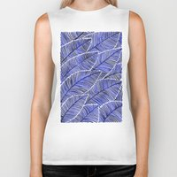 navy Biker Tanks featuring Tropical Navy by Cat Coquillette