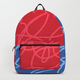Chaos Lines On Red Blue Horizon Minimal Abstract Art Dabih Backpack