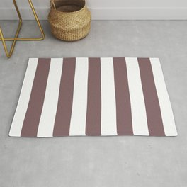 Deep taupe - solid color - white stripes pattern Rug