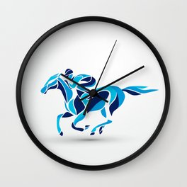 Horse race. Equestrian sport. Silhouette of racing with jockey Wall Clock