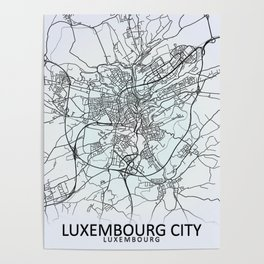Luxembourg City, Luxembourg, White, City, Map Poster