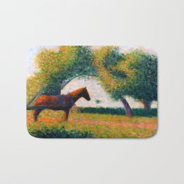 The Harnessed Horse Georges Seurat (1884) Oil Impressionist Painting Bath Mat
