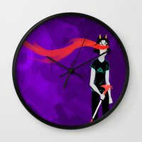 homestuck Wall Clocks featuring Clownhunting  by Paula Urruti