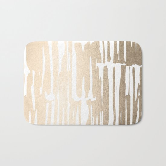 White Gold Sands Bamboo Stripes Bath Mat